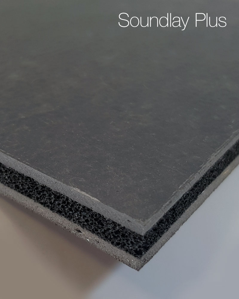 Double Layer Acoustic Overlay Material for Concrete Floors